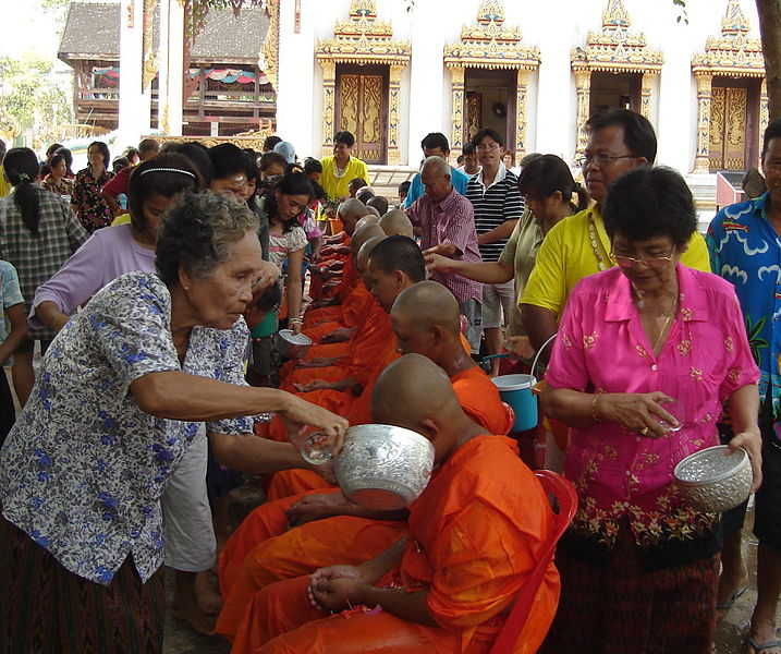 Songkran Act of respect towards monks