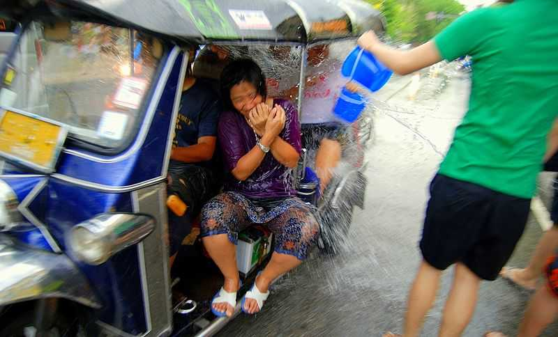 Water battle in Chiang Mai songkran