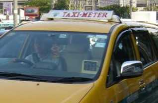Taxi with customer