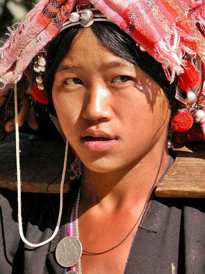 Young Akha woman in Laos