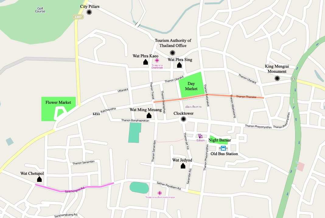 Map of Chiang Rai City Center