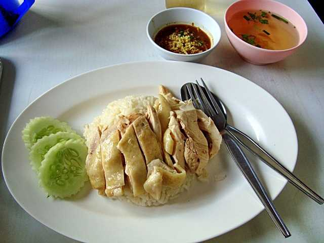 Chicken rice and ginger sauce Khao-man-Kaille